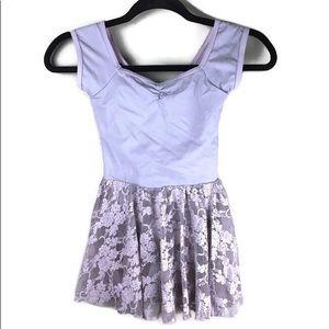 Balera Gray Lace Cap Sleeve Dance Dress Size IC